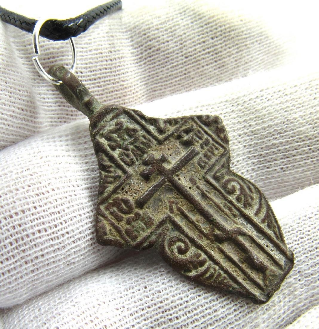 Post Medieval Bronze Radiate Cross Pendant - 3