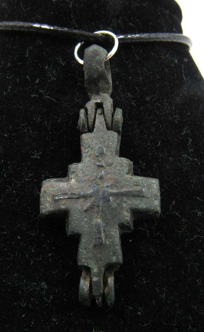 Medieval Crusaders Era Bronze Reliquary Cross with