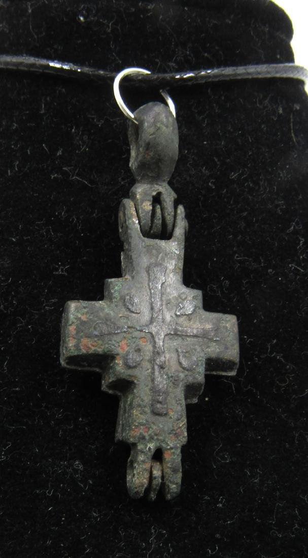 Medieval Crusaders Era Bronze Reliquary Cross with - 2