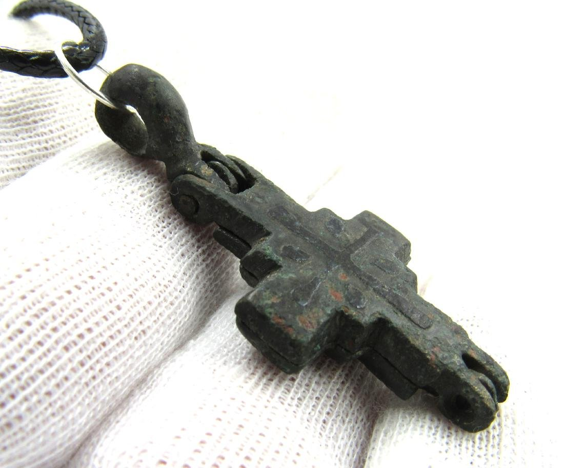 Medieval Crusaders Era Bronze Reliquary Cross with - 3
