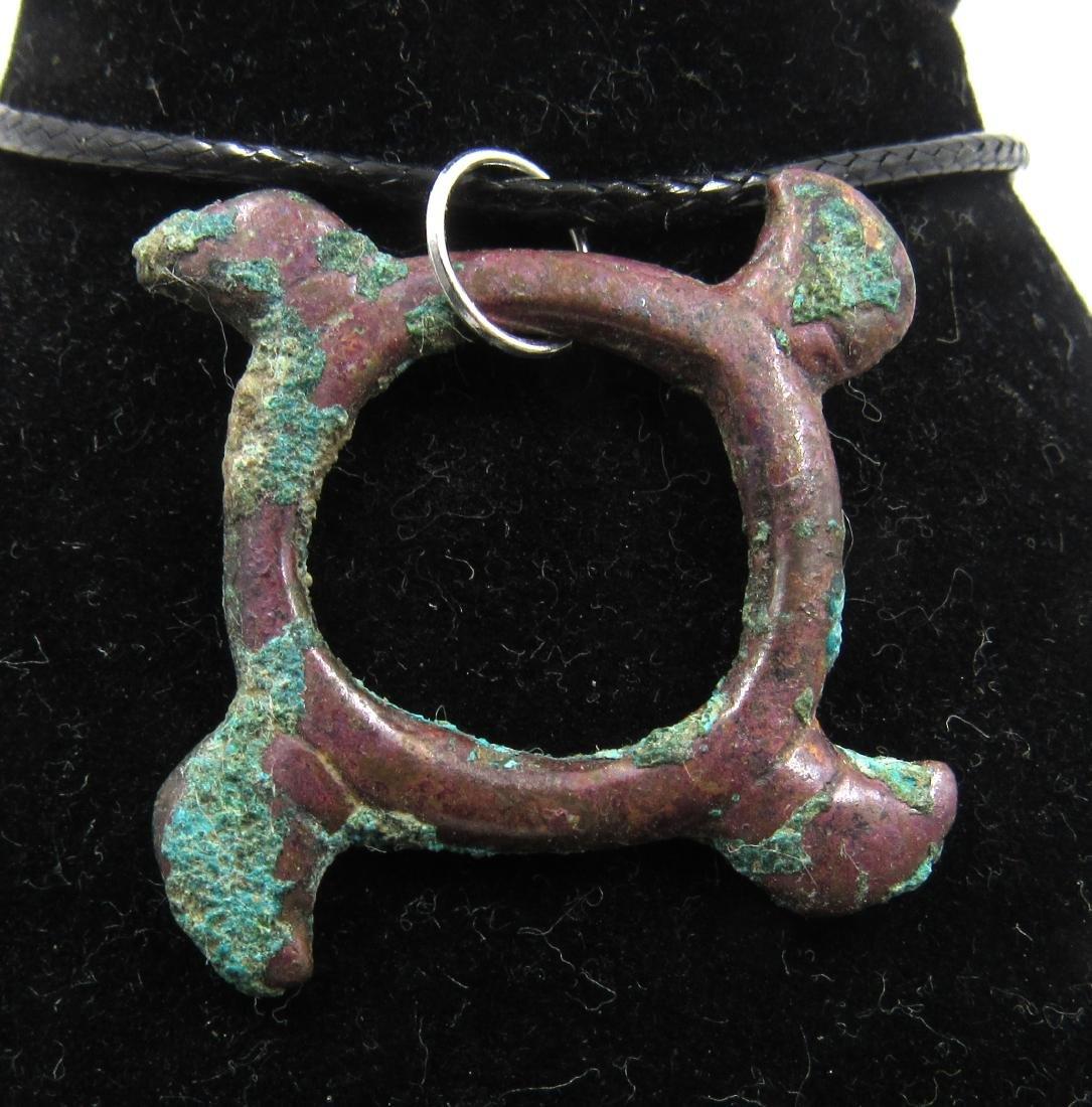 Medieval Viking Era Bronze Eagle Swastika Amulet