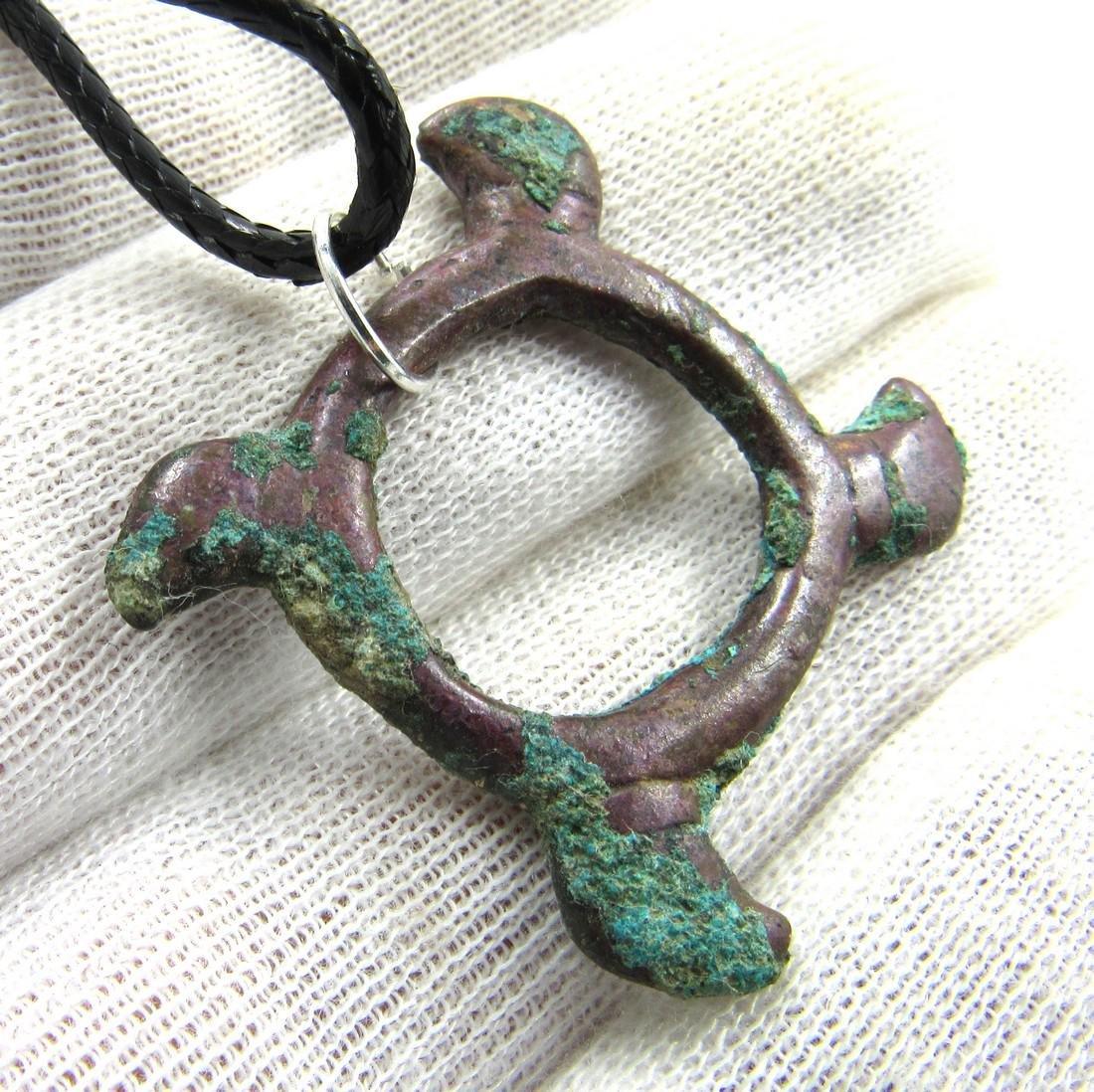 Medieval Viking Era Bronze Eagle Swastika Amulet - 3