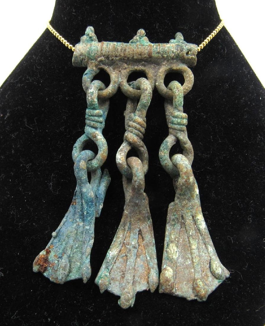 Medieval Viking Era Bronze Pendant with Goose Foot