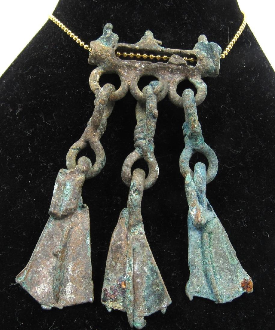 Medieval Viking Era Bronze Pendant with Goose Foot - 2
