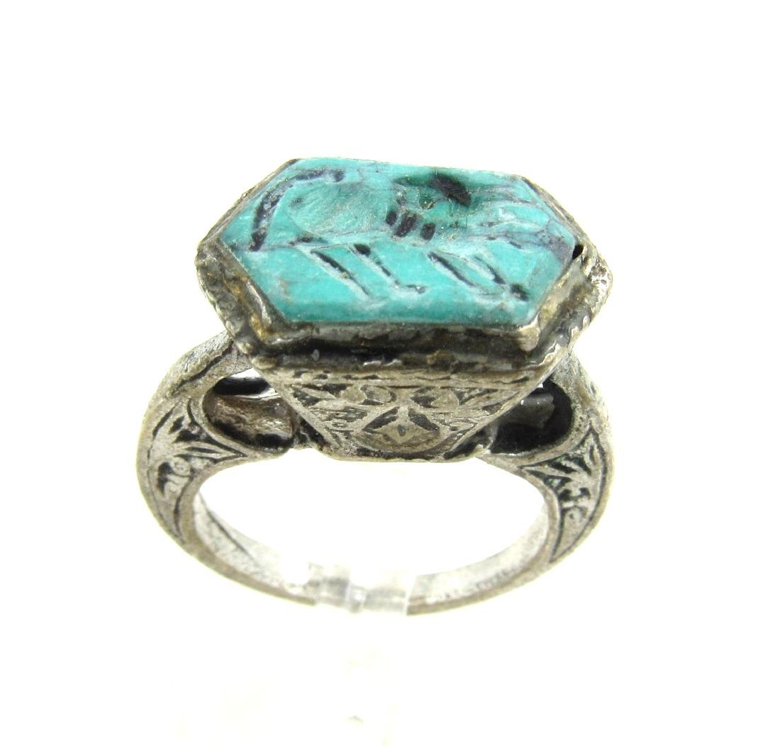 Post Medieval Silver Ring with Stone Intaglio Beast