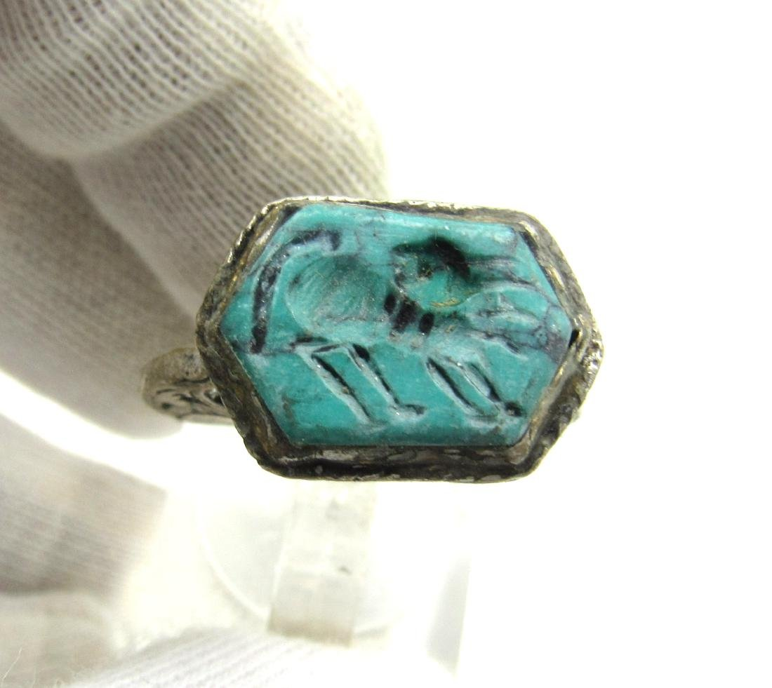 Post Medieval Silver Ring with Stone Intaglio Beast - 2