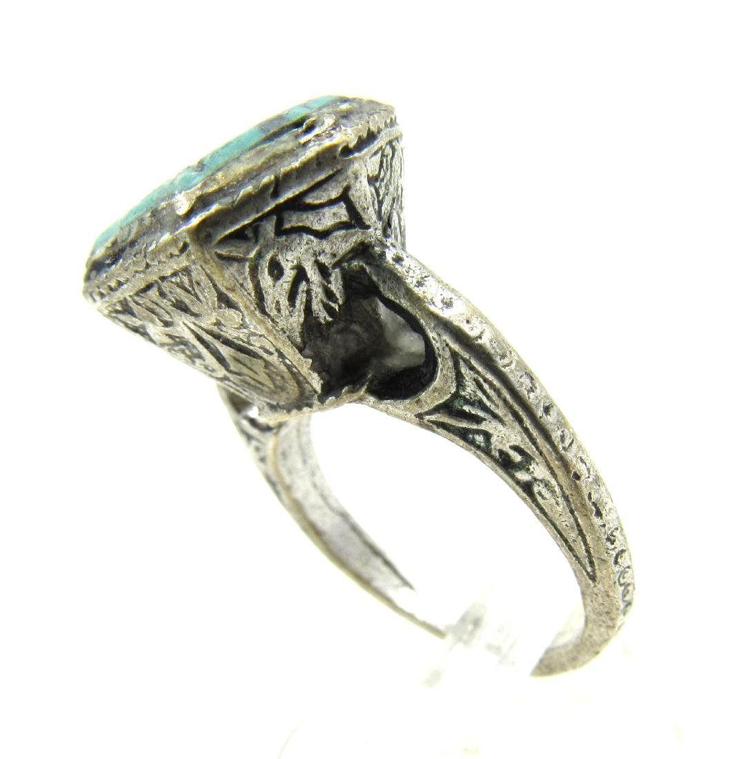 Post Medieval Silver Ring with Stone Intaglio Beast - 3