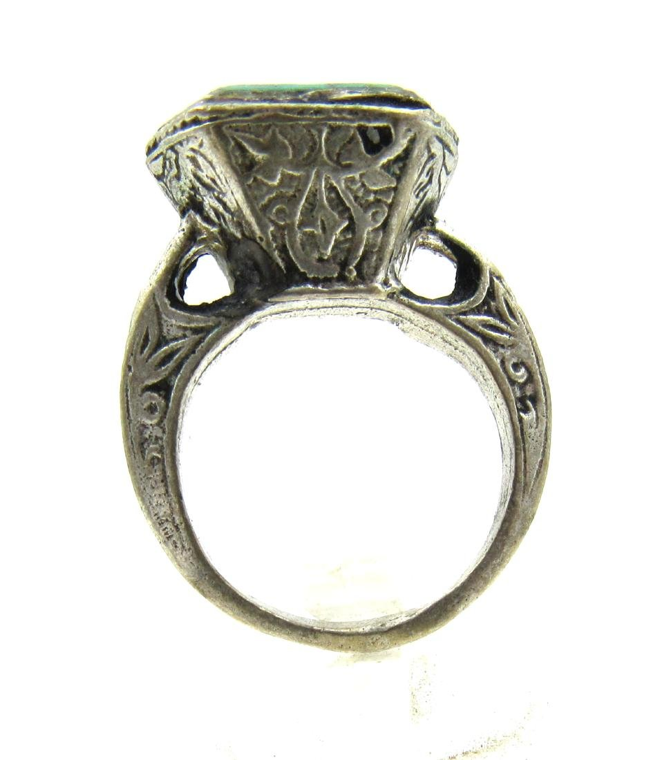 Post Medieval Silver Ring with Stone Intaglio Beast - 4