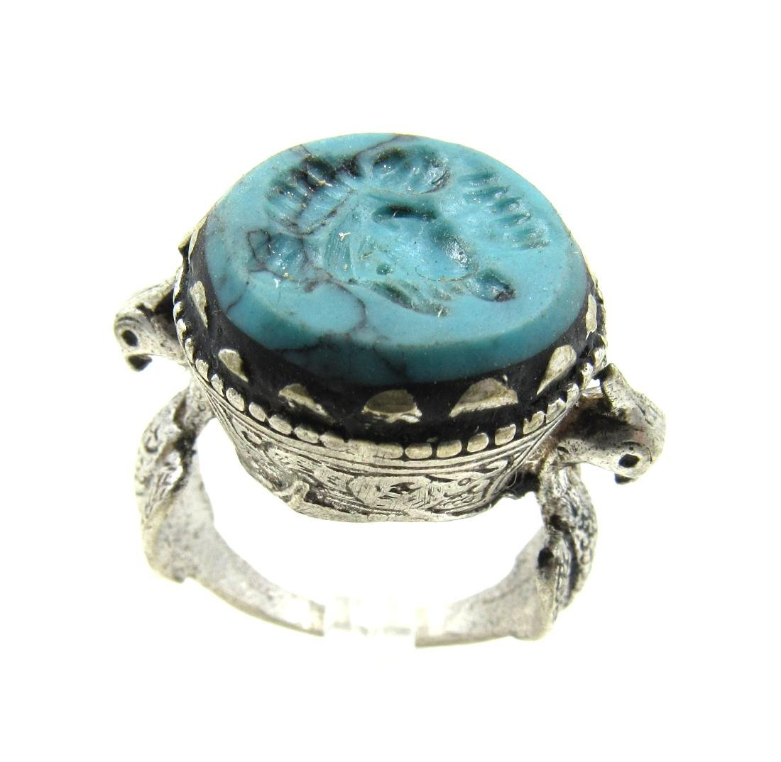 Post Medieval Silver Ring with Stone Intaglio Bust
