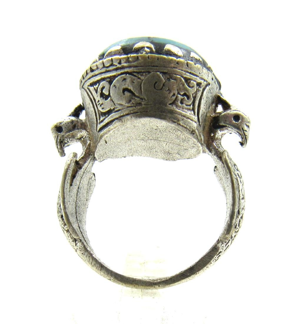 Post Medieval Silver Ring with Stone Intaglio Bust - 4