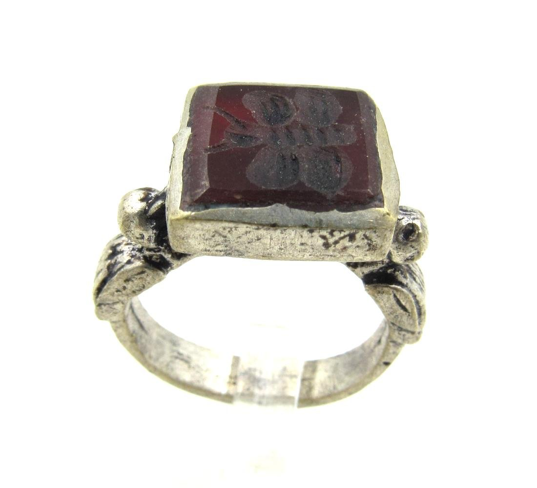 Post Medieval Silver Ring with Carnelian Butterfly