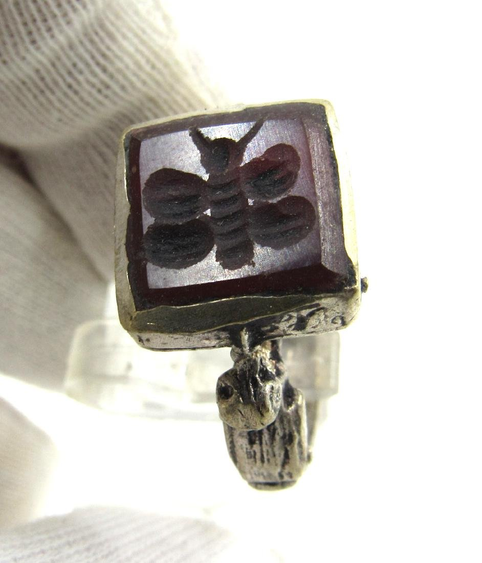 Post Medieval Silver Ring with Carnelian Butterfly - 2
