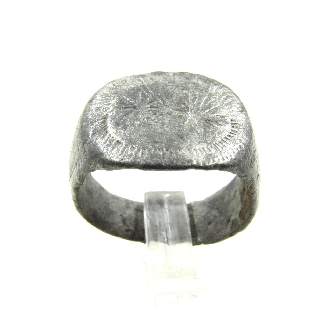 Medieval Viking Era Silver Ring with 2 Stars