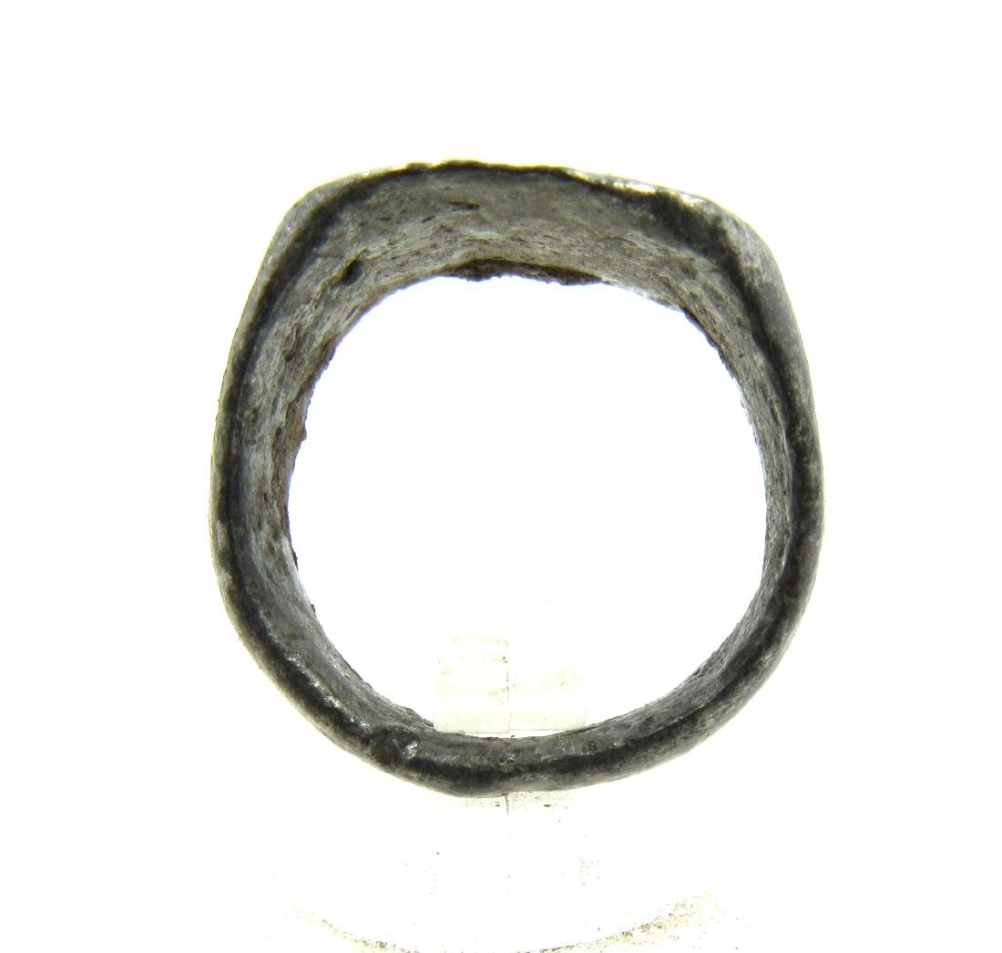 Medieval Viking Era Silver Ring with 2 Stars - 4