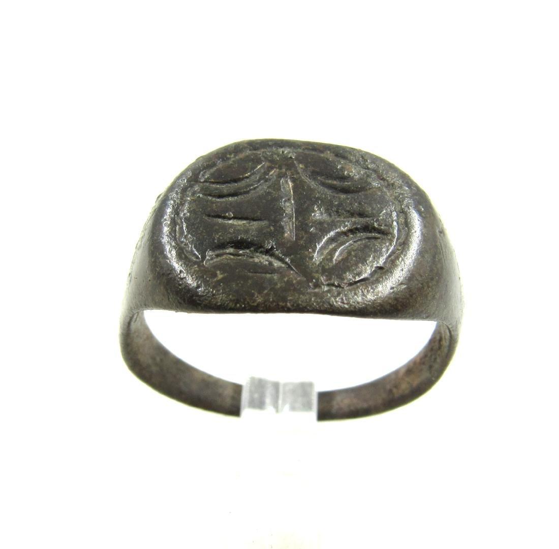 Medieval Viking Era Bronze Ring with Dragon Eye Motif