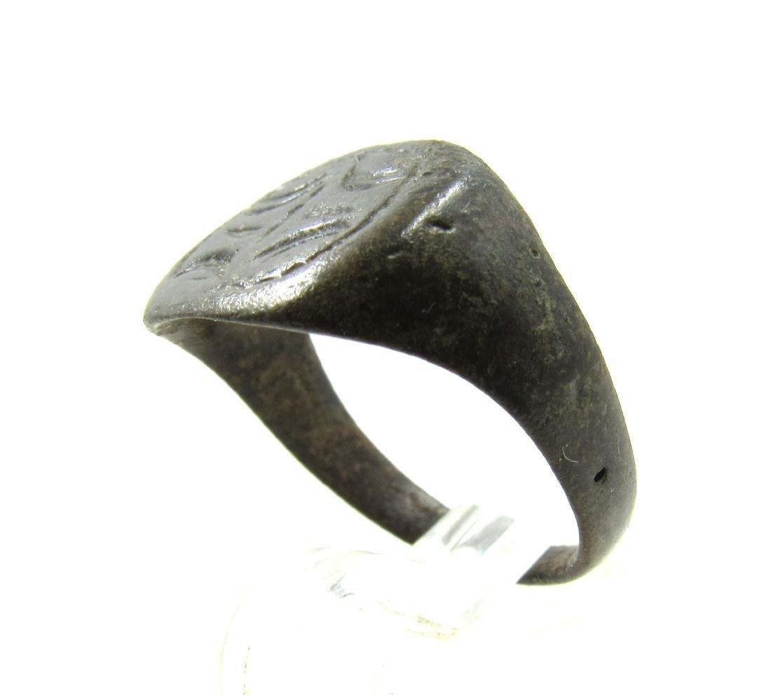 Medieval Viking Era Bronze Ring with Dragon Eye Motif - 3
