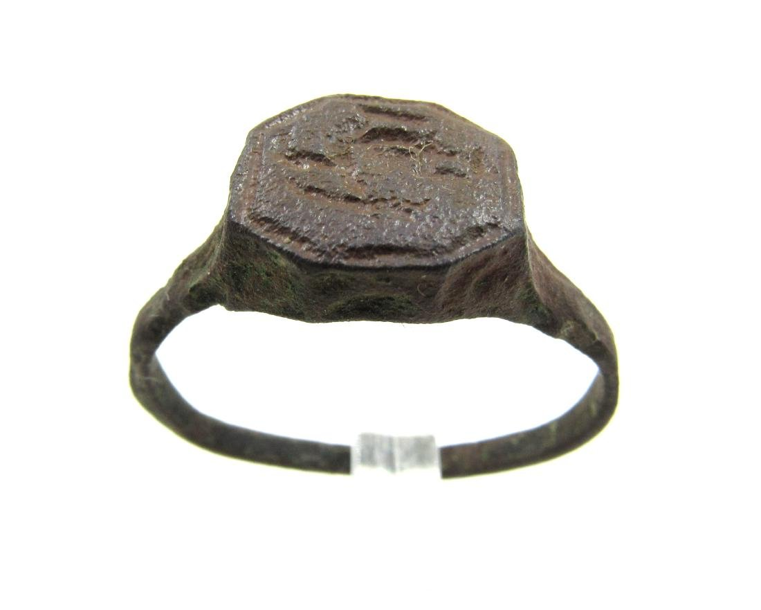 Medieval Viking Era Bronze Ring with Warrior