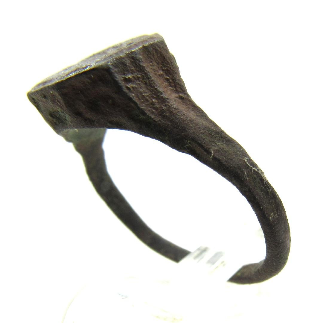 Medieval Viking Era Bronze Ring with Warrior - 3