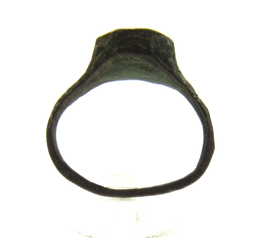 Medieval Viking Era Bronze Ring with Warrior - 4