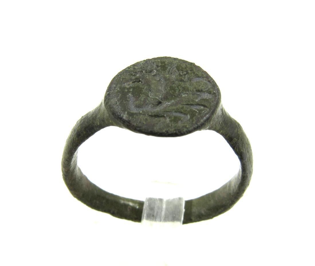Medieval Viking Era Bronze Ring with Dragon