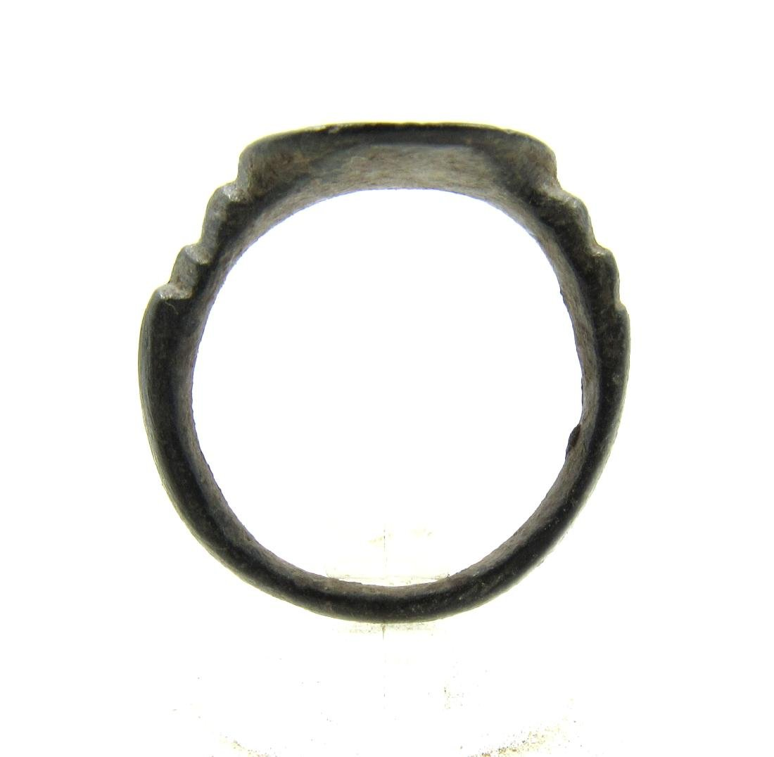 Medieval Crusaders Era Bronze Ring with Star of - 3