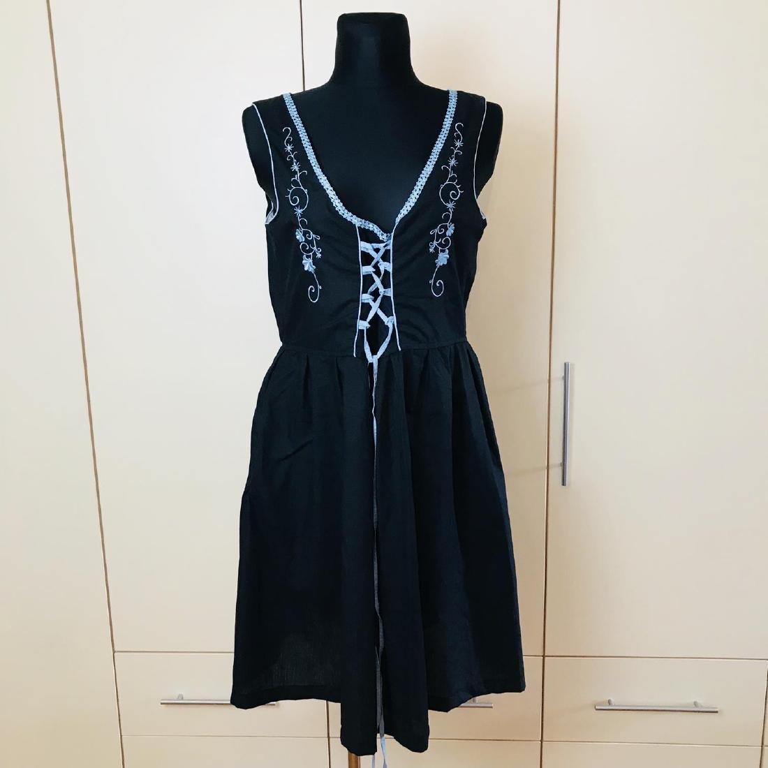 Vintage Women's Black Tyrolean Drindl Dress Size US 16