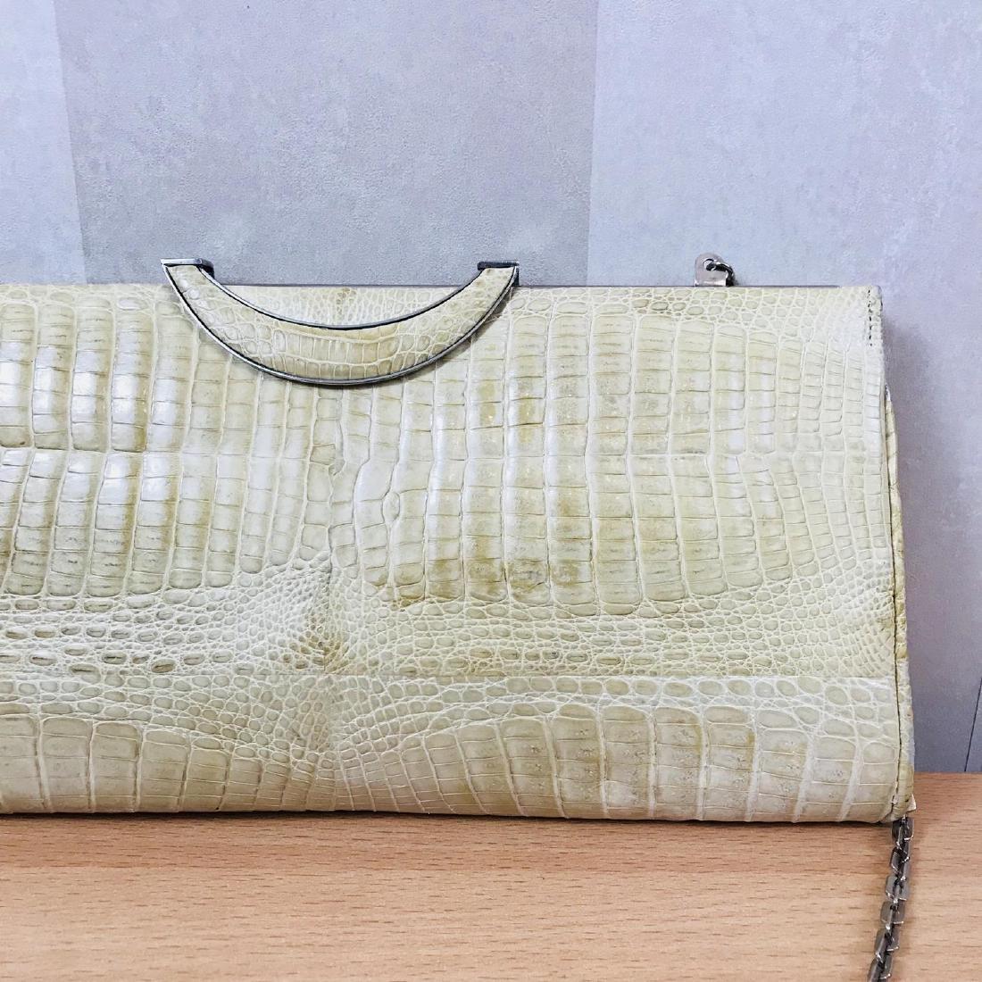 Vintage Beige Crocodile Leather Clutch Bag - 2