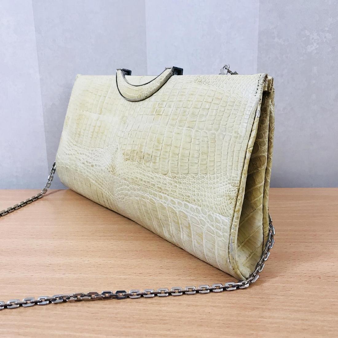 Vintage Beige Crocodile Leather Clutch Bag - 4