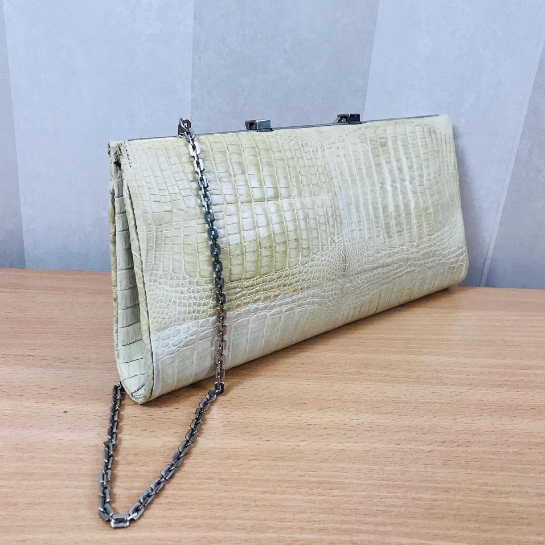 Vintage Beige Crocodile Leather Clutch Bag - 5
