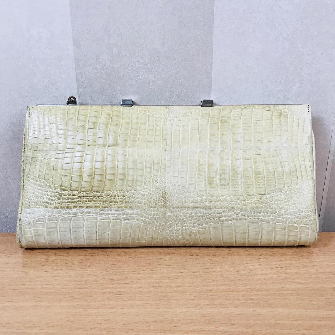 Vintage Beige Crocodile Leather Clutch Bag - 6