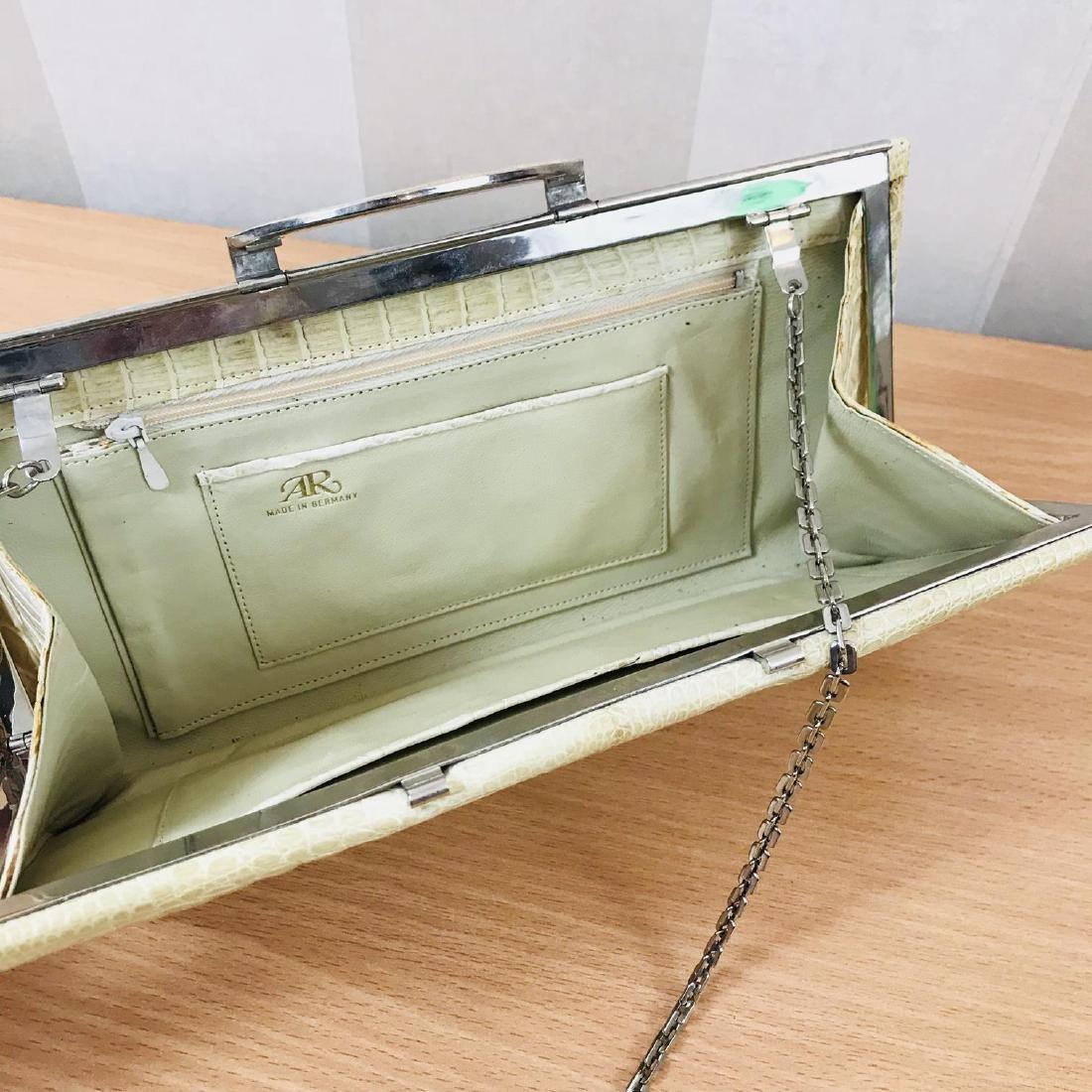 Vintage Beige Crocodile Leather Clutch Bag - 7