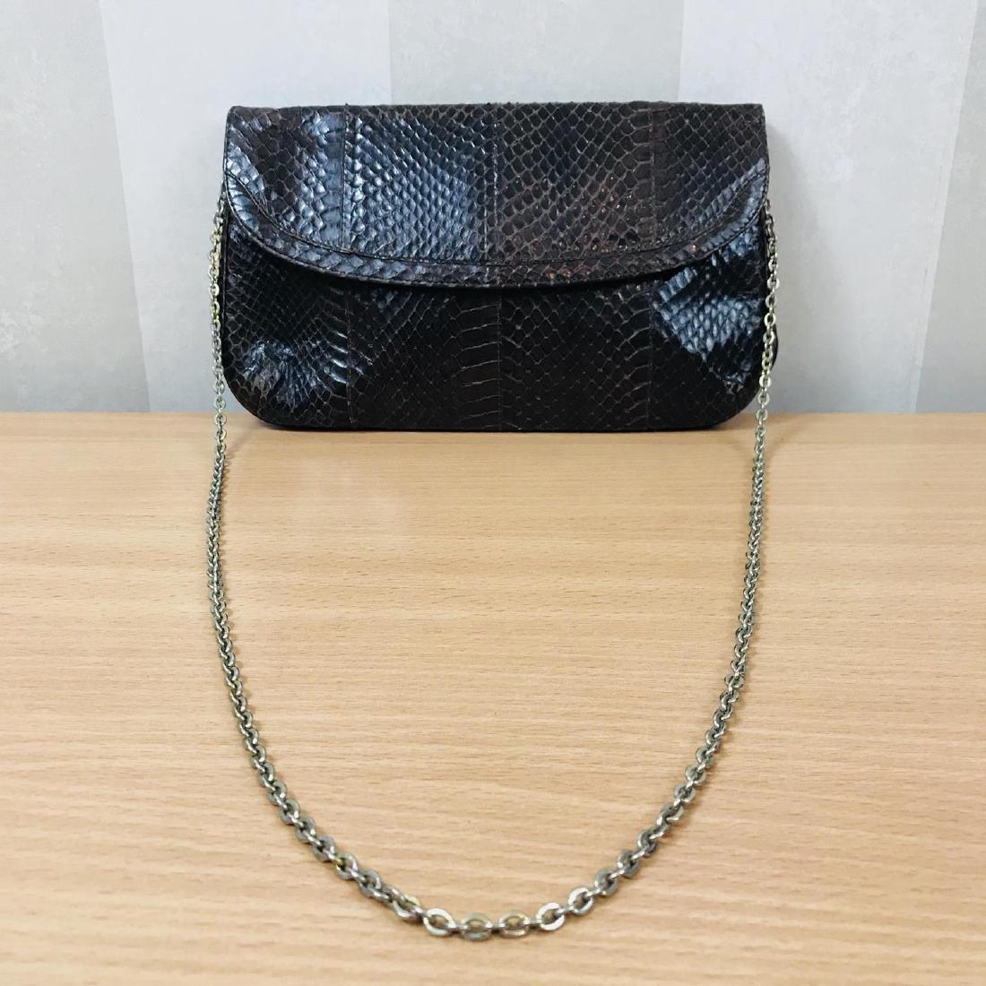 Vintage Brown Snakeskin Leather Clutch Bag