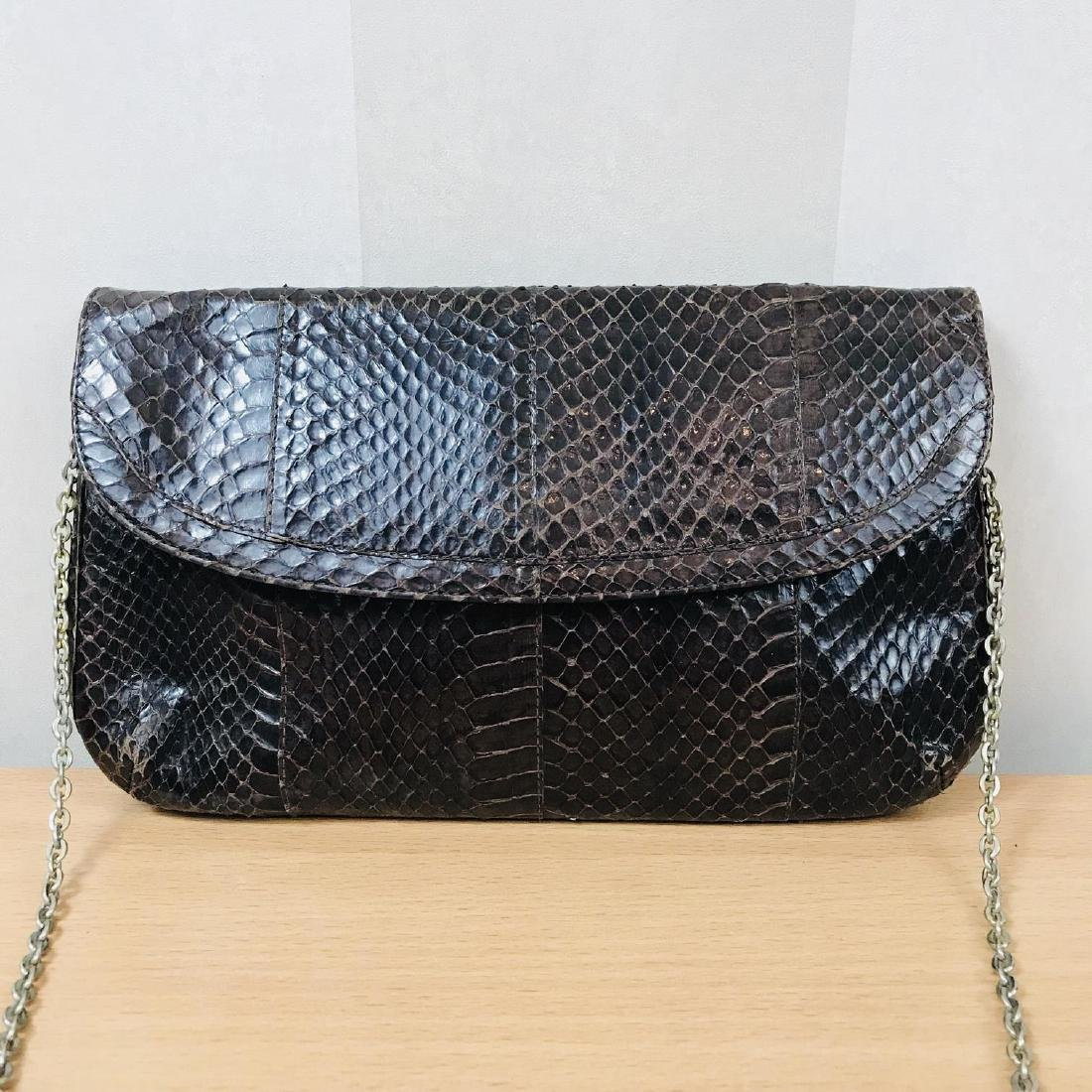 Vintage Brown Snakeskin Leather Clutch Bag - 2