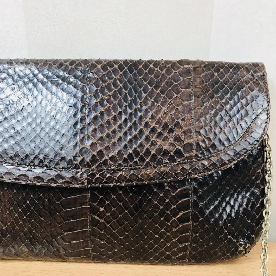 Vintage Brown Snakeskin Leather Clutch Bag - 3