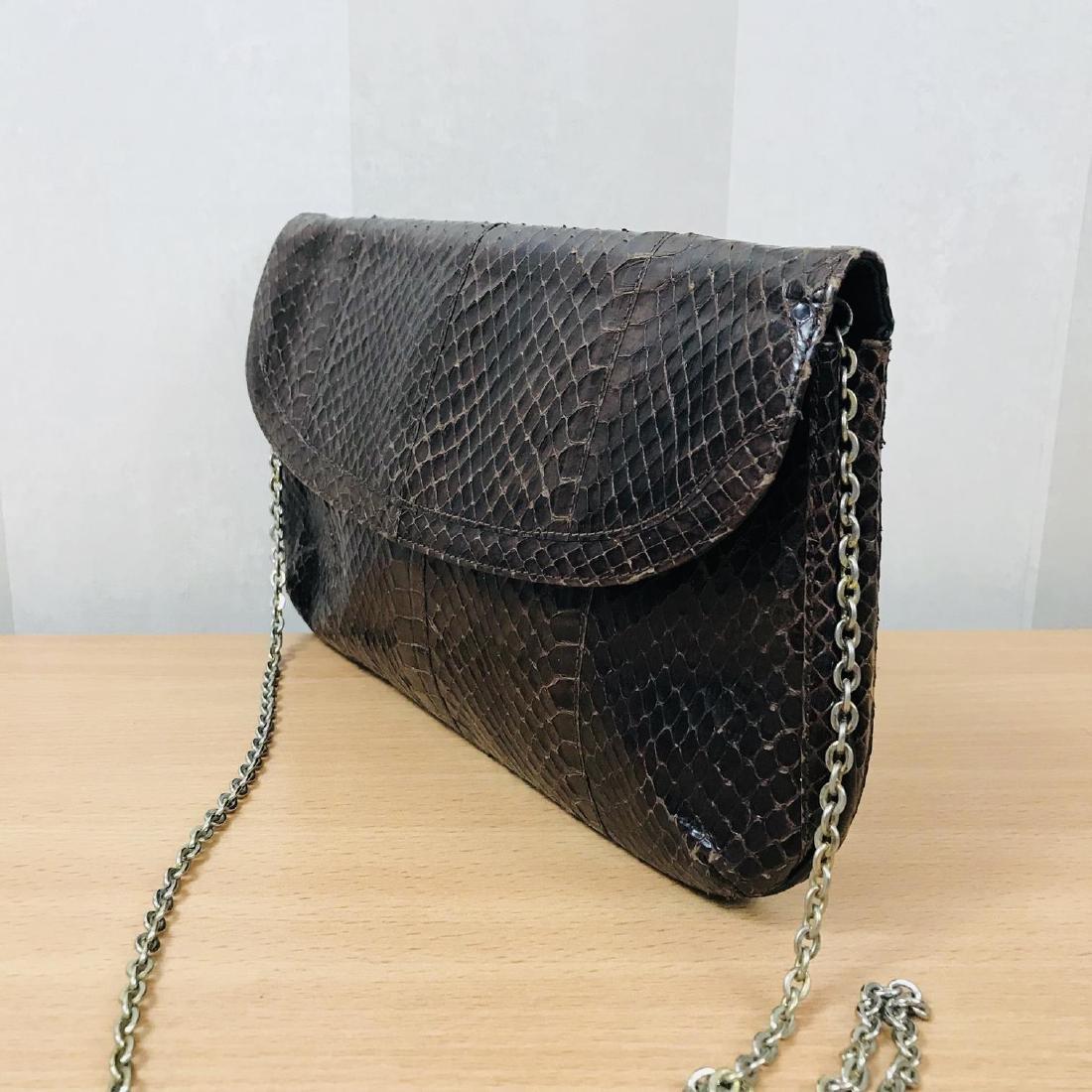 Vintage Brown Snakeskin Leather Clutch Bag - 4