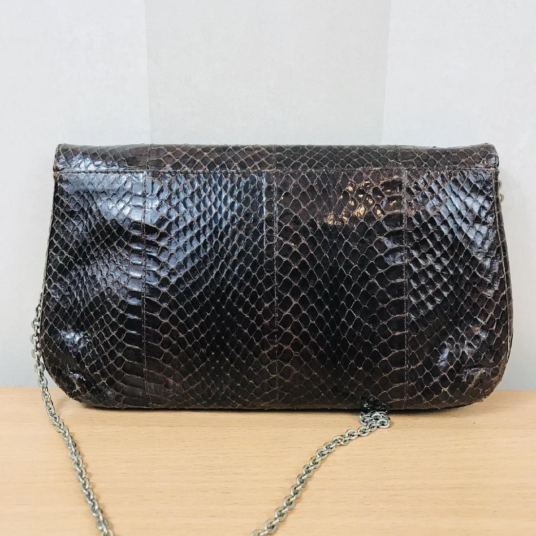 Vintage Brown Snakeskin Leather Clutch Bag - 5