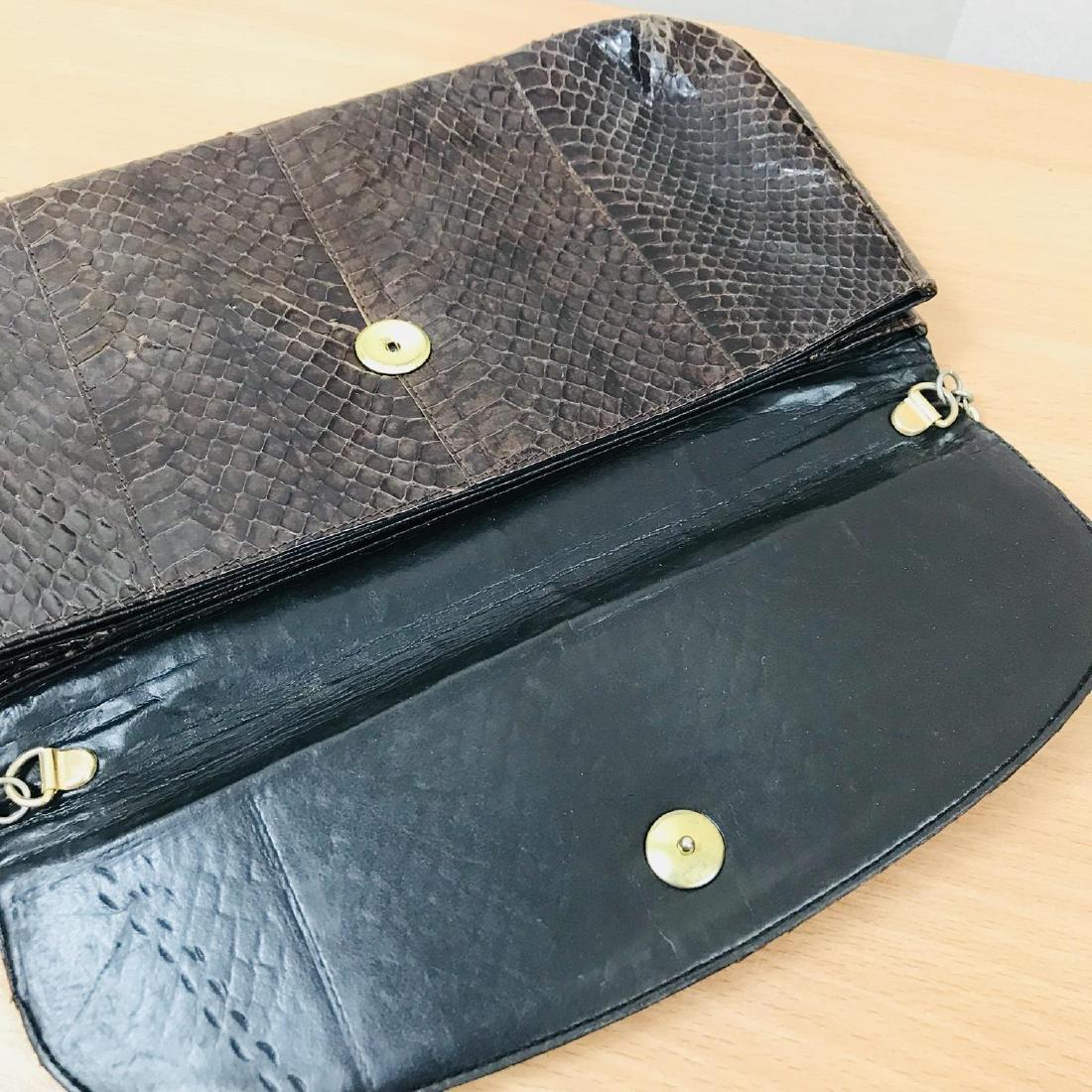 Vintage Brown Snakeskin Leather Clutch Bag - 6
