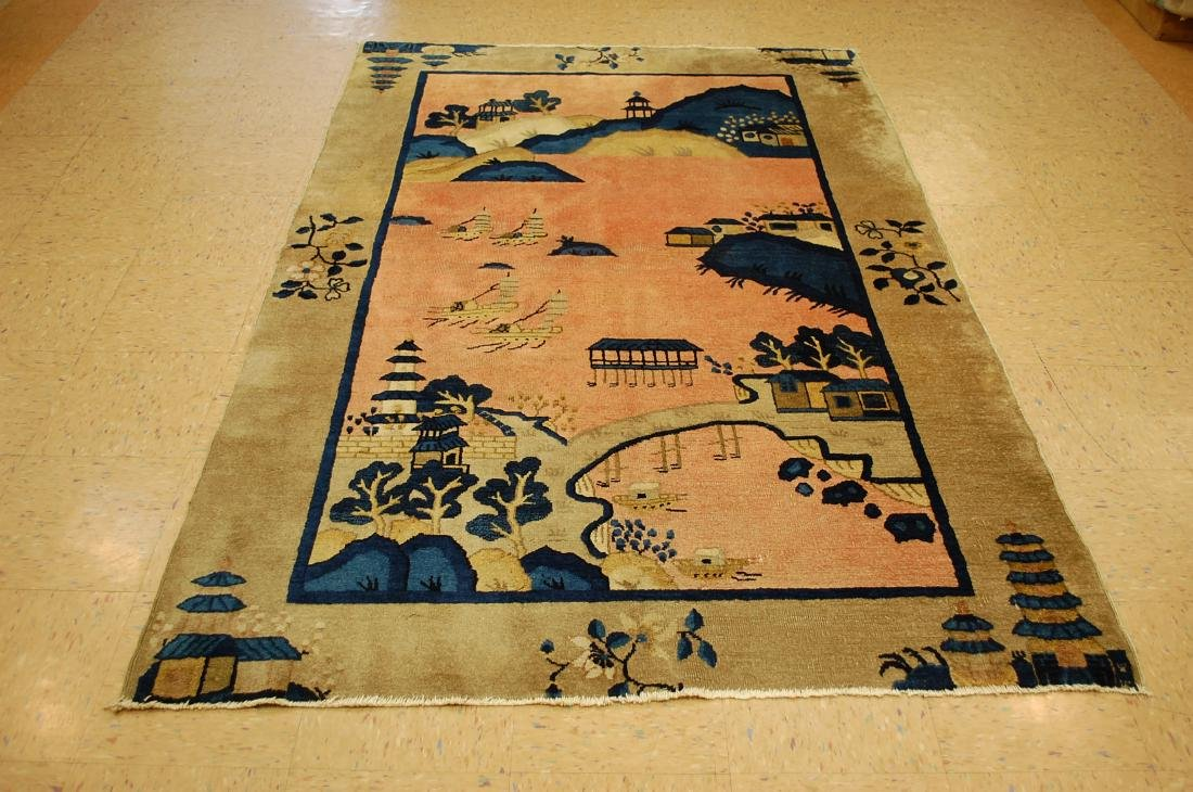 Circa 1910s Antique Art Deco Chinese Beijing Rug 5x7.8