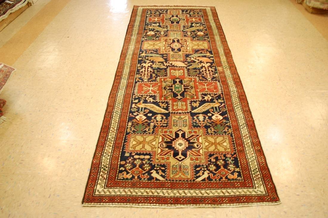 Antique Caucasian Kazak Shirvan Design Rug 3.9x10.7
