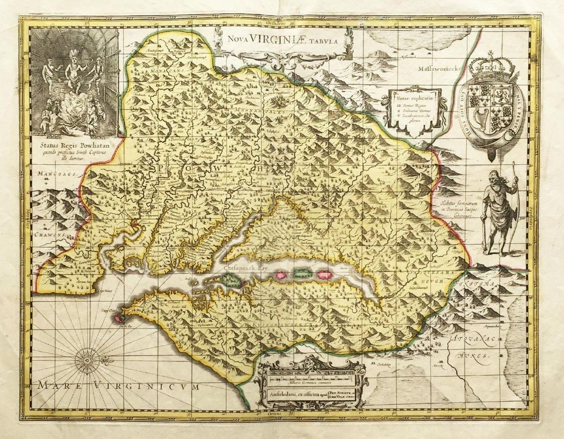Hondius/Valk & Schenk: Virginia with Powhattan Vignette
