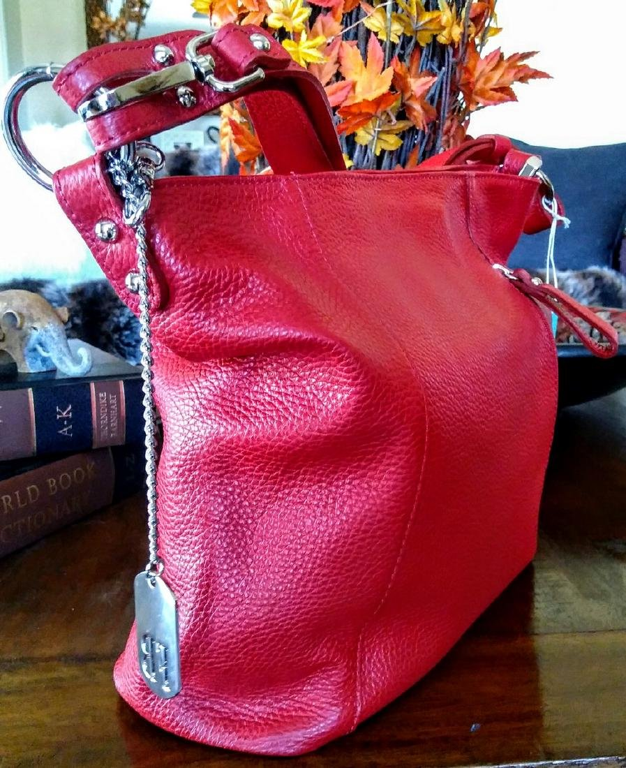 Federica Bassi Red Hobo Leather Bag Made in Italy Zip - 6