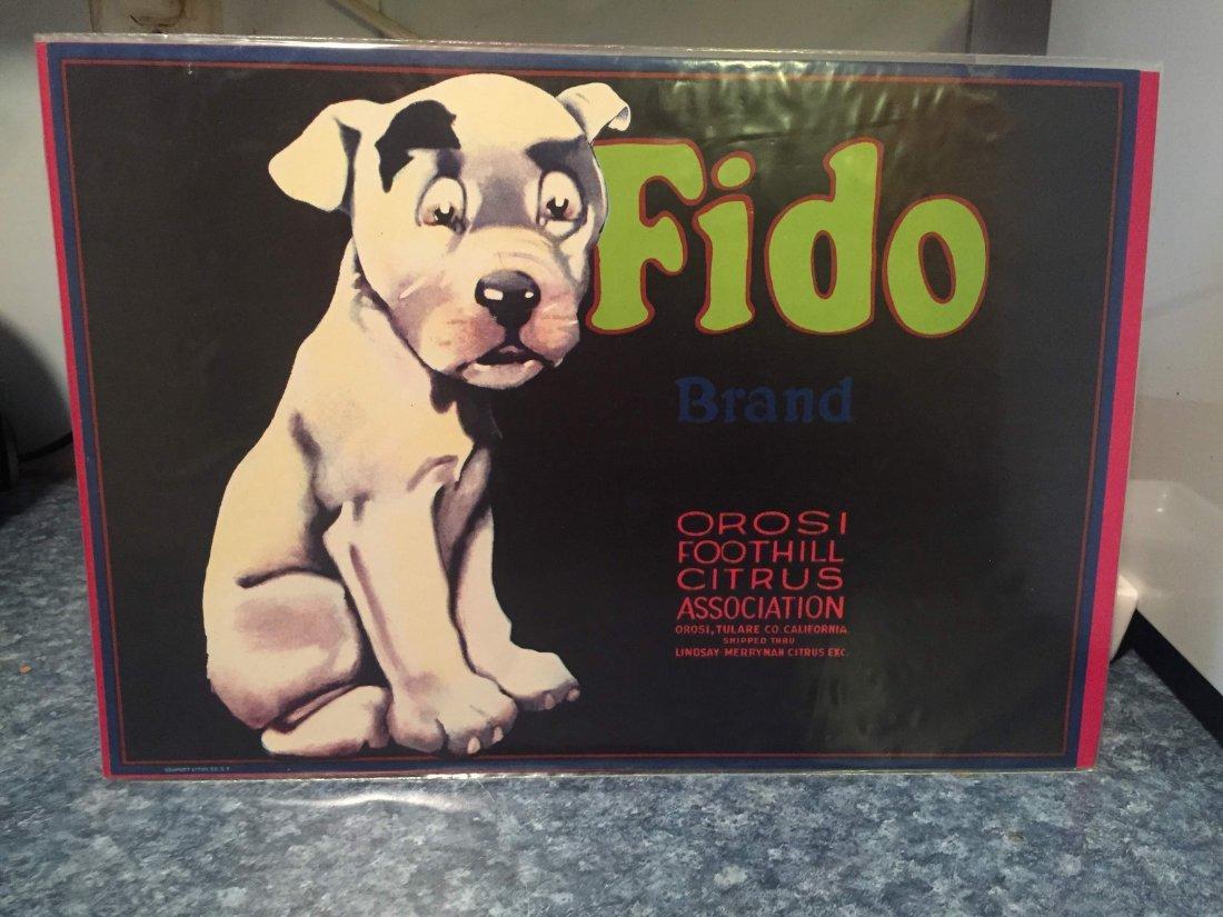 Original Fido Lemon Crate Label
