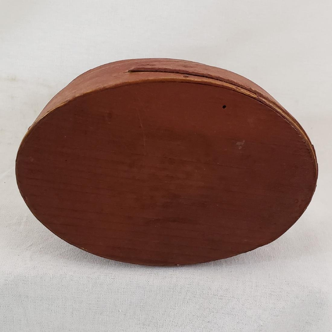 Harvard Style Red Oval Pantry Box Ca 1850-70 - 3