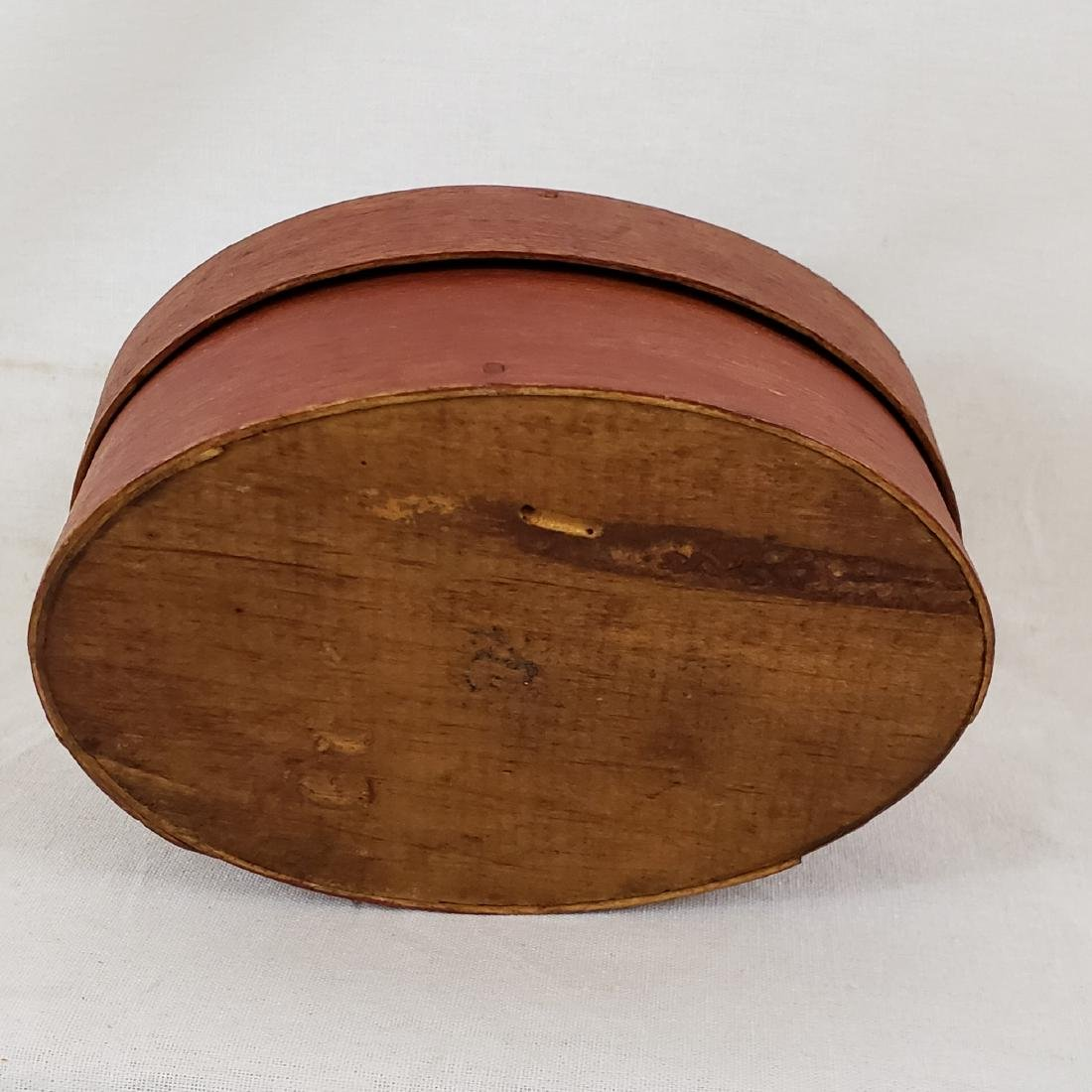 Harvard Style Red Oval Pantry Box Ca 1850-70 - 4