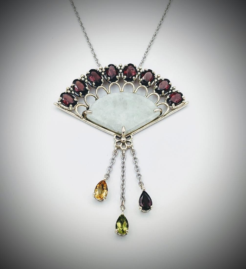 Sterling Silver Necklace & Hand Fan Design Pendant w