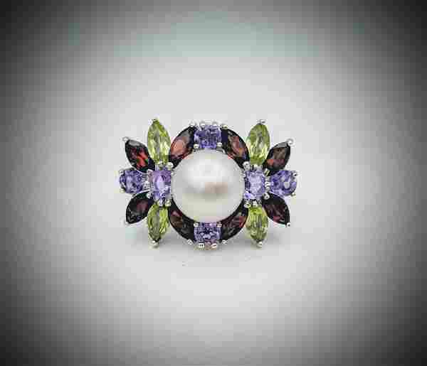 Sterling Silver Pearl & Multicolored Gemstone Ring Sz 7