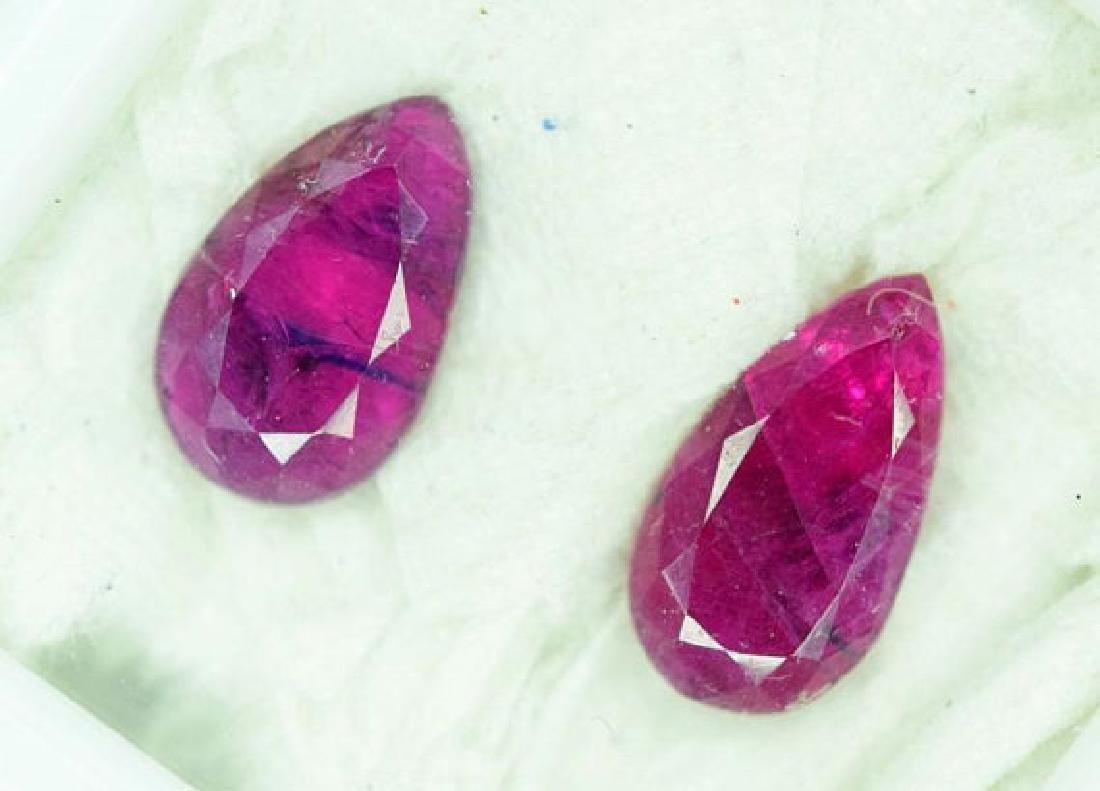 2.60 Carats ~ Pear Cut Pair of Natural Ruby - Gemstone - 2