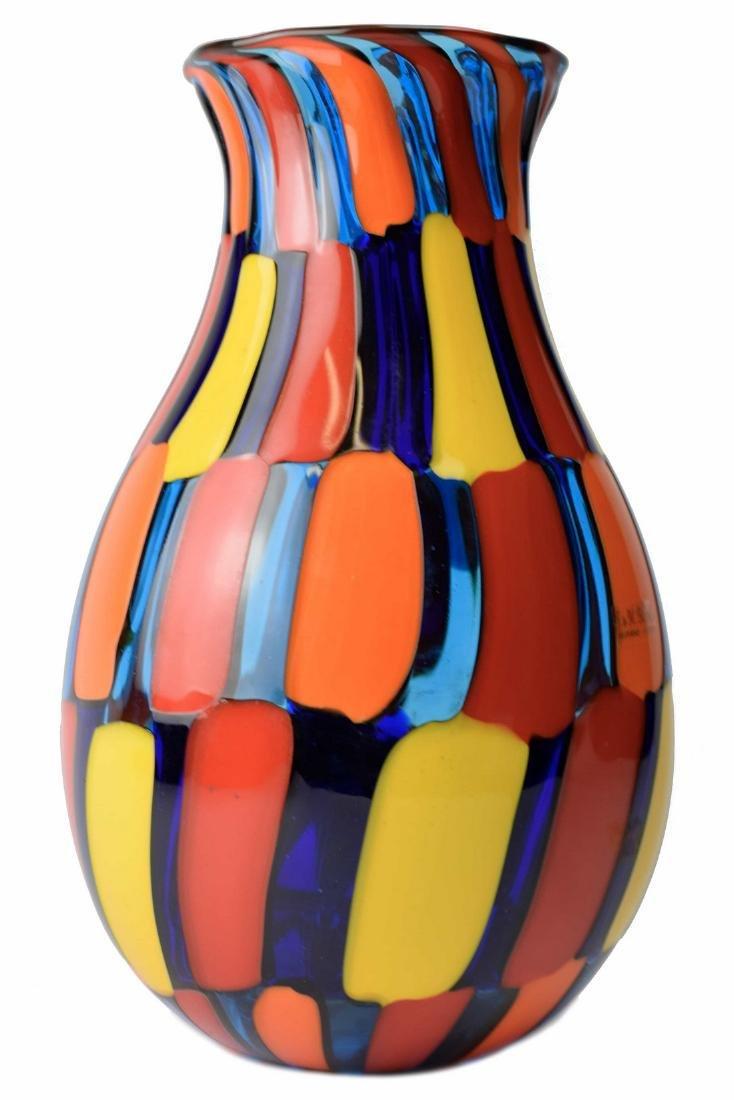 Angelo Ballarin - Murano glass vase pezzato Signed