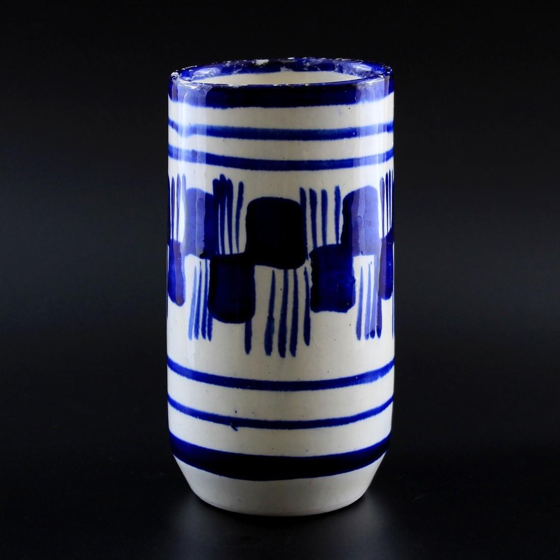 Vintage Blue & White Brush Stroke Ceramic Vase