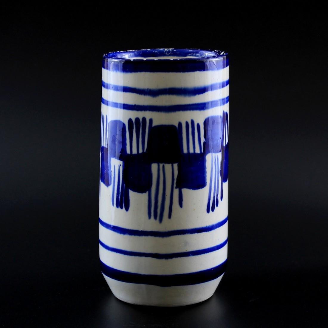 Vintage Blue & White Brush Stroke Ceramic Vase - 2